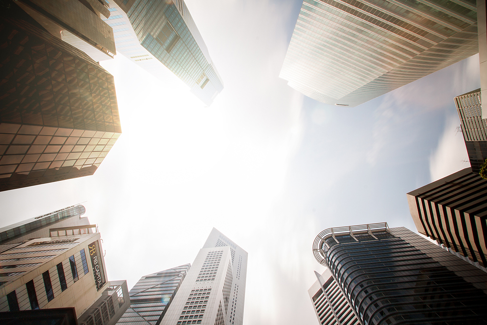 Singapur Hochhäuser Sonne